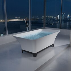 INFURNITURE WS-BT-TCS91BL-M 66 INCH POLYSTONE TRAPEZOID FREE STANDING BATHTUB WITH BLACK TRIMMING IN MATTE WHITE