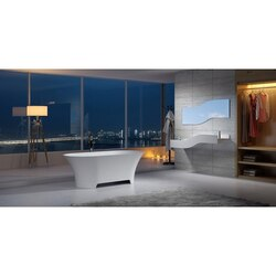 INFURNITURE WS-BT-TCS92-G 64 INCH POLYSTONE OVAL FREE STANDING BATHTUB IN GLOSSY WHITE
