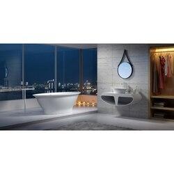 INFURNITURE WS-BT-V1-G 74 INCH POLYSTONE OVAL FREE STANDING BATHTUB IN GLOSSY WHITE
