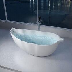 INFURNITURE WS-BT-V7-G 69 INCH POLYSTONE LEAF FREE STANDING BATHTUB IN GLOSSY WHITE