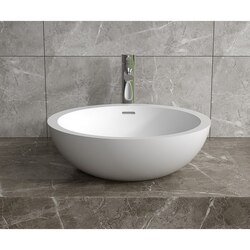 INFURNITURE WS-VS-V102-G 18 X 18 INCH POLYSTONE ROUND VESSEL BATHROOM SINK WITH OVERFLOW IN GLOSSY WHITE