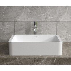 INFURNITURE WS-VS-V103-G 23 X 14 INCH POLYSTONE RECTANGULAR VESSEL BATHROOM SINK WITH OVERFLOW IN GLOSSY WHITE