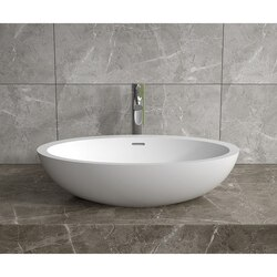 INFURNITURE WS-VS-V104-G 24 X 14 INCH POLYSTONE OVAL VESSEL BATHROOM SINK WITH OVERFLOW IN GLOSSY WHITE