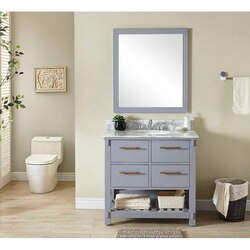 INFURNITURE IN3836-G+CW TOP 36 INCH SINGLE SINK BATHROOM VANITY IN GREY WITH CARRARA WHITE MARBLE TOP
