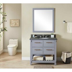 INFURNITURE IN3836-G+MG TOP 36 INCH SINGLE SINK BATHROOM VANITY IN GREY WITH POLISHED TEXTURED SURFACE GRANITE TOP