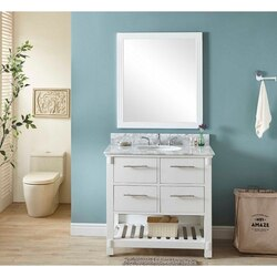 INFURNITURE IN3836-W+CW TOP 36 INCH SINGLE SINK BATHROOM VANITY IN WHITE WITH CARRARA WHITE MARBLE TOP