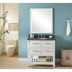 INFURNITURE IN3836-W+MG TOP 36 INCH SINGLE SINK BATHROOM VANITY IN WHITE WITH POLISHED TEXTURED SURFACE GRANITE TOP