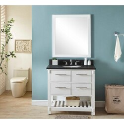 INFURNITURE IN3836-W+WK TOP 36 INCH SINGLE SINK BATHROOM VANITY IN WHITE WITH LIMESTONE TOP