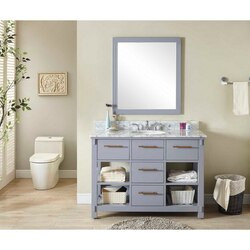 INFURNITURE IN3848-G+CW TOP 48 INCH SINGLE SINK BATHROOM VANITY IN GREY WITH CARRARA WHITE MARBLE TOP