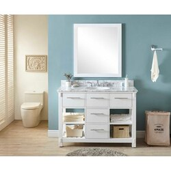 INFURNITURE IN3848-W+CW TOP 48 INCH SINGLE SINK BATHROOM VANITY IN WHITE WITH CARRARA WHITE MARBLE TOP