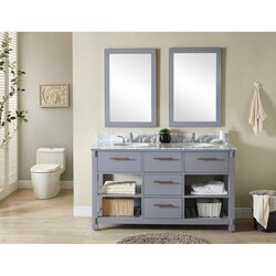 INFURNITURE IN3860-G+CW TOP 60 INCH DOUBLE SINK BATHROOM VANITY IN GREY WITH CARRARA WHITE MARBLE TOP