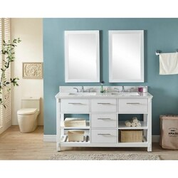 INFURNITURE IN3860-W+AP TOP 60 INCH DOUBLE SINK BATHROOM VANITY IN WHITE WITH ARCTIC PEARL QUARTZ MARBLE TOP