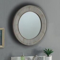 INFURNITURE WK8328M 27.5 x 38.5 INCH SOLID RECYCLED FIR ROUND MIRROR