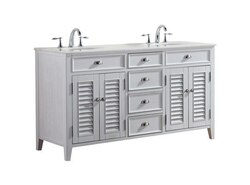 MODETTI MOD884WH-60 PALM BEACH 60 INCH DOUBLE BATHROOM VANITY SET IN WHITE