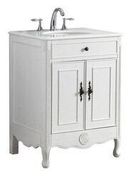 MODETTI MOD081AW-26 PROVENCE 26 INCH SINGLE BATHROOM VANITY SET IN ANTIQUE WHITE