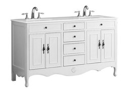 MODETTI MOD081AW-60 PROVENCE 60 DOUBLE BATHROOM VANITY SET IN ANTIQUE WHITE
