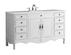 MODETTI MOD081AW-60S PROVENCE 60 INCH SINGLE BATHROOM VANITY SET IN ANTIQUE  WHITE