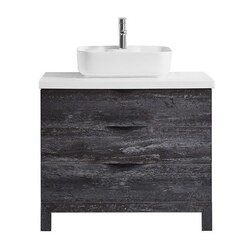 VINNOVA 958036-MSEG-AW-NM SPENCER 36 INCH SINGLE VANITY IN SUEDE ELEGANT GREY WITH FINE WHITE QUARTZ STONE TOP WITHOUT MIRROR