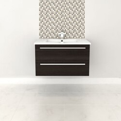 CUTLER KITCHEN AND BATH FV DCHOC30 SILHOUETTE COLLECTION 30 INCH WALL MOUNT BATHROOM VANITY WITH TOP IN DARK CHOCOLATE