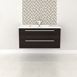 CUTLER KITCHEN AND BATH FV DCHOC36 SILHOUETTE COLLECTION 36 INCH WALL MOUNT BATHROOM VANITY WITH TOP IN DARK CHOCOLATE