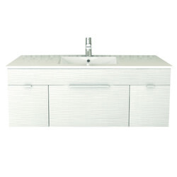 CUTLER KITCHEN AND BATH FV CW48 TEXTURES COLLECTION 48 INCH WALL MOUNT BATHROOM VANITY WITH TOP IN CONTOUR WHITE