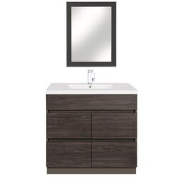 CUTLER KITCHEN AND BATH BW KA48DB BOARDWALK COLLECTION 48 INCH HANDLESS BATHROOM VANITY WITH DOUBLE BOWL TOP IN KAROO ASH