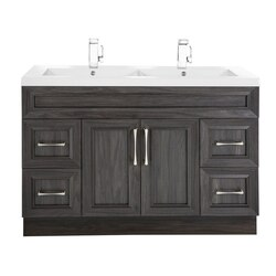CUTLER KITCHEN AND BATH CCKATR48DBT CLASSIC COLLECTION 48 INCH BATHROOM VANITY WITH DOUBLE BOWL TOP IN KAROO ASH