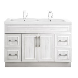 CUTLER KITCHEN AND BATH CCTRFH48DBT CLASSIC COLLECTION 48 INCH BATHROOM VANITY WITH DOUBLE BOWL TOP IN FOGO HARBOR