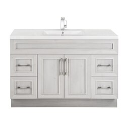 CUTLER KITCHEN AND BATH CCFTR48SBT CLASSIC COLLECTION 48 INCH BATHROOM VANITY WITH SINGLE BOWL TOP IN FOSSIL