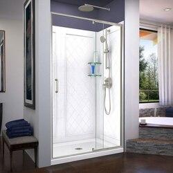 DREAMLINE DL-6226C-04 FLEX 36 D X 48 W X 76 3/4 H INCH SEMI-FRAMELESS SHOWER DOOR WITH DRAIN BASE AND BACKWALLS