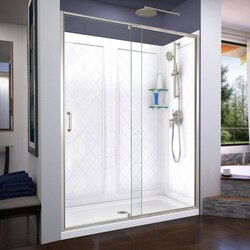 DREAMLINE DL-6227-04 FLEX 30 D X 60 W X 76 3/4 H INCH SEMI-FRAMELESS SHOWER DOOR WITH DRAIN BASE AND BACKWALLS
