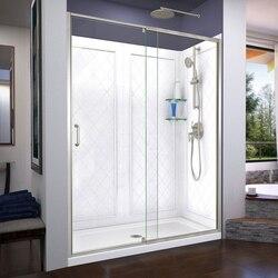 DREAMLINE DL-6230-04 FLEX 36 D X 60 W X 76 3/4 H INCH SEMI-FRAMELESS SHOWER DOOR WITH DRAIN BASE AND BACKWALLS