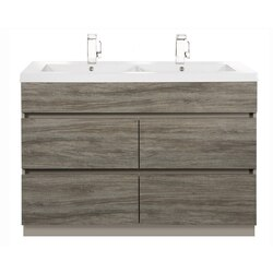 CUTLER KITCHEN AND BATH BW SW48DB BOARDWALK COLLECTION 48 INCH HANDLESS BATHROOM VANITY WITH DOUBLE BOWL TOP IN SOUTHWESTER