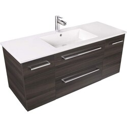 CUTLER KITCHEN AND BATH FV DCHOC48 SILHOUETTE COLLECTION 48 INCH WALL MOUNT BATHROOM VANITY WITH TOP IN DARK CHOCOLATE