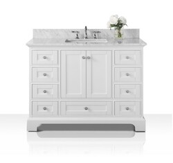 ANCERRE DESIGNS VTS-AUDREY-48-W-CW AUDREY 48 INCH BATH VANITY SET IN WHITE WITH ITALIAN CARRARA WHITE MARBLE VANITY TOP AND WHITE UNDERMOUNT BASIN