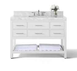 ANCERRE DESIGNS VTS-ELIZABETH-48-W-CW ELIZABETH 48 INCH BATH VANITY SET IN WHITE WITH ITALIAN CARRARA WHITE MARBLE VANITY TOP AND WHITE UNDERMOUNT BASIN