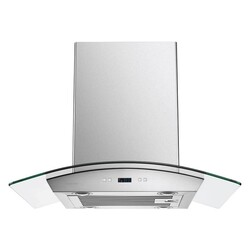 CAVALIER SV218D-I30 30 INCH ISLAND RANGE HOOD IN STAINLESS STEEL AND GLASS WITH TOUCH SCREEN CONTROLS