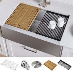 Kraus KWF410-30 Kore Workstation 30 Inch Farmhouse Flat Apron Front 16 Gauge Single Bowl Stainless Steel Kitchen Sink with Accessories (Pack of 5)