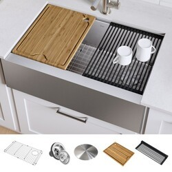 KRAUS KWF410-33 KORE WORKSTATION 33 INCH FARMHOUSE FLAT APRON FRONT 16 GAUGE SINGLE BOWL STAINLESS STEEL KITCHEN SINK WITH ACCESSORIES (PACK OF 5)