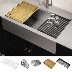 KRAUS KWF410-36 KORE WORKSTATION 36 INCH FARMHOUSE FLAT APRON FRONT 16 GAUGE SINGLE BOWL STAINLESS STEEL KITCHEN SINK WITH ACCESSORIES (PACK OF 5)