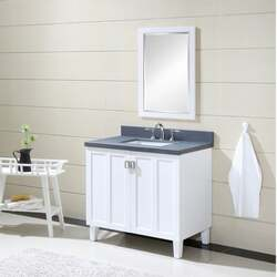 INFURNITURE IN3236-W+BG TOP 36 INCH SINGLE SINK BATHROOM VANITY IN WHITE WITH GREY QUARTZ MARBLE TOP