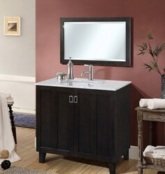 INFURNITURE IN3236-DB+CW TOP 36 INCH SINGLE SINK BATHROOM VANITY IN DARK BROWN WITH THICK EDGE CARRARA WHITE MARBLE TOP