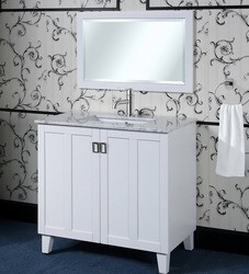 INFURNITURE IN3236-W+CW TOP 36 INCH SINGLE SINK BATHROOM VANITY IN WHITE WITH THICK EDGE CARRARA WHITE MARBLE TOP