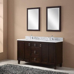 INFURNITURE IN3260-BR+CW TOP 60 INCH DOUBLE SINK BATHROOM VANITY IN BROWN WITH THICK EDGE CARRARA WHITE MARBLE TOP