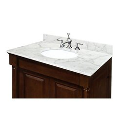 SAGEHILL DESIGNS OW2522-CW 25 INCH MARBLE VANITY TOP WITH 4 INCH BACKSPLASH - SINK INCLUDED, IN CARRARA WHITE