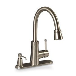 PREMIER 120077 ESSEN LEAD-FREE SINGLE-HANDLE PULL-DOWN KITCHEN FAUCET WITH SOAP DISPENSER, PVD BRUSHED NICKEL