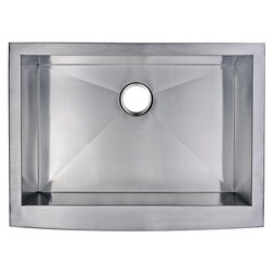 WATER-CREATION SS-AS-3022A 30 X 22 INCH ZERO RADIUS SINGLE BOWL STAINLESS STEEL HAND MADE APRON FRONT KITCHEN SINK