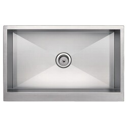 WATER-CREATION SS-AS-3321A-16 33 X 21 INCH ZERO RADIUS SINGLE BOWL STAINLESS STEEL HAND MADE APRON FRONT KITCHEN SINK
