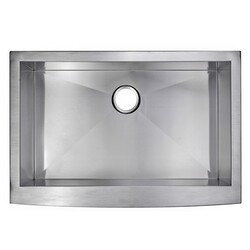 WATER-CREATION SS-AS-3322A 33 X 22 INCH ZERO RADIUS SINGLE BOWL STAINLESS STEEL HAND MADE APRON FRONT KITCHEN SINK
