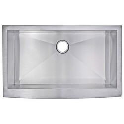 WATER-CREATION SS-AS-3622A-16 36 X 22 INCH ZERO RADIUS SINGLE BOWL STAINLESS STEEL HAND MADE APRON FRONT KITCHEN SINK